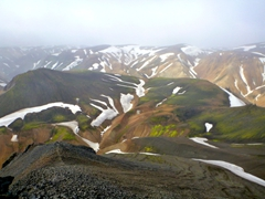 View of Landmannalaugar as seen from Mt Bláhnjúkur (a steep 1 hour hike from camp)