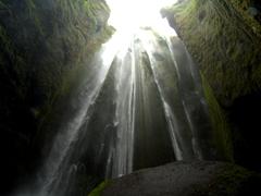 "Interior view of Gljúfurárfoss (""Canyon Dweller"") waterfall"