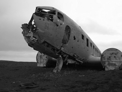 "Remnants of a US Navy plane (a Douglas C-47 Skytrain known as ""Dakota"") that crash landed on a beach near Vík . Amazingly, the entire crew survived! Today, you can freely explore the ruins"