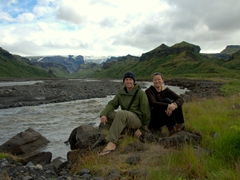 Resting our weary legs by the Krossá River; Thórsmörk
