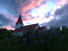 Can you believe this picture was taken at midnight? We enjoyed the most magnificent sunset over this lupine surrounded church in Vík