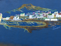Painted mural on a factory wall; Heimaey Island