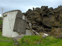 Old swimming pool of the Westman Islands (lava flow from the 1973 eruption of Eldfell volcano destroyed the island's pool)