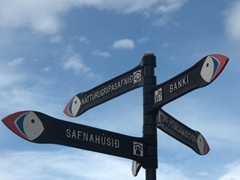 Puffin signposts are a common sight on the Westman Islands