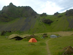 One of Iceland's most unique campsites is located in the volcanic valley of Herjólfsdalur. This ended up being one of our favorite campsites