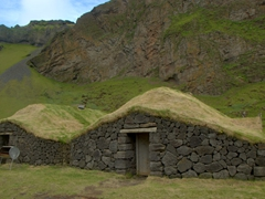 Recreated turf house, Herjólfsdalur volcanic crater on Heimaey Island