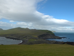 View to the north of Heimaey Island from Europe's windiest point, Stórhöfði