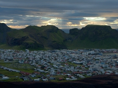 Late evening view of Heimaey village