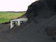 Remnants of a building covered by the 1973 lava flow; Eldheimar
