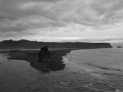 The black sand beach and basalt sea stack at Dyrhólaey
