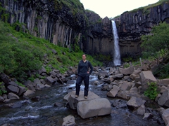 Becky strikes a pose in front of Svartifoss (Black Fall) waterfall; Skaftafell
