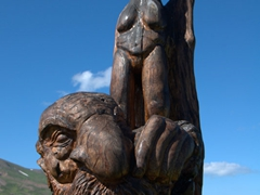 Wooden sculpture; Bakkagerði