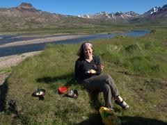 A quick hot meal of hot dogs and ramen, an Iceland backpacker's favorite; Bakkagerði