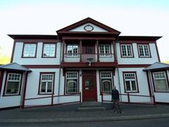 Becky checks out another of Seyðisfjörður's wooden houses