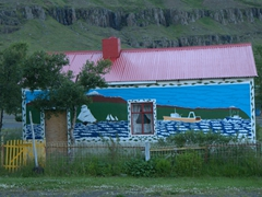 Exterior of Geirihús, the colorful painted house of a Seyðisfjörður artist