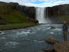Robby beside Gufufoss, Seyðisfjörður's largest waterfall