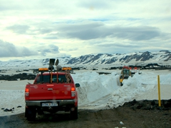 The road to remote Askja is quite an adventure! We had to contend with river crossings, sharp volcanic rocky terrain and tons of snow. After parking the car, we still had an hour trek in the snow to reach the caldera
