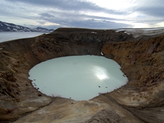 Another view of Askja. The milky blue pool of Viti Crater is 25 °C (warm enough for a quick dip), but unfortunately for us, access to Viti was sealed off