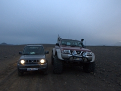 For a little perspective, our Jimny is absolutely dwarfed by this monster 4x4. Ironically, the larger vehicle was abandoned by the roadside...a casualty of the treacherous interior terrain of Iceland