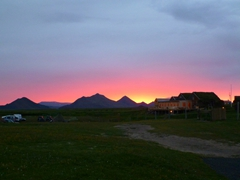 A beautiful sunset over our Möðrudalur farm campsite