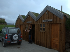 Quite possibly Iceland's cutest gas station! A turf house petrol station fills up our Jimny; Möðrudalur Farm