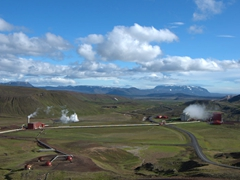 View of the Leirbotn geothermal power station; Mývatn