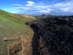 The result of a 1984 eruption. There is a clear delineation of the lava flow; Leirhnjukur Krafla lava field