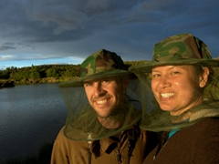 Mosquito net hats...our only protection from the relentless midges at Lake Mývatn