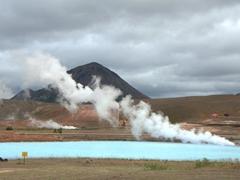 Milky blue geothermal runoff from the Krafla power station; Mývatn