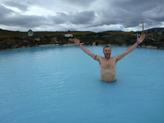 Robby is the first one in the pool at Mývatn Nature Baths