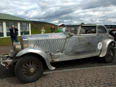 "The most popular vehicle in Mývatn! ""Around the world in an 80 year old car"" is the logo and the owner's impressive goal is to visit 80 countries in his 80 year old antique car"