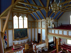 Interior view of Húsavík's wooden church Húsavíkurkirkja, built in 1907