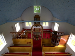 Interior view of the Laufás Church. The decorative pulpit dates from 1698