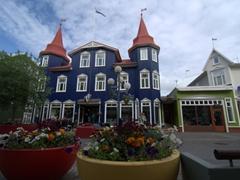 A colorful scene on Hafnarstræti (shopping) Street; Akureyri