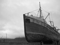 Old fishing boat under repair; Siglufjörður
