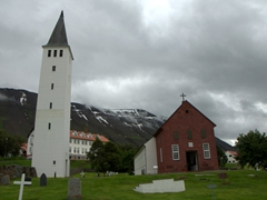 Hólar Church (Iceland's oldest) is built from red stone taken from the nearby Hólabyrða mountain