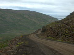 Although 4WD isn't necessary, we were happy to have our Jimny to tackle dirt tracks such as this one; West Fjords