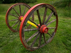 Colorful wagon wheel; West Fjords