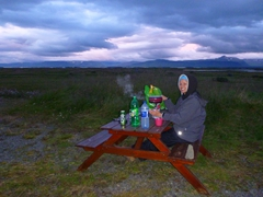 Preparing a midnight meal at our Grettislaug campsite in Reykhólar