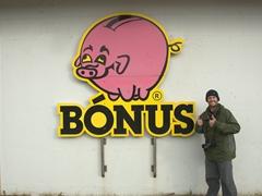 We would get so happy seeing the pink pig (Bónus Supermarket) in random places; Stykkishólmur