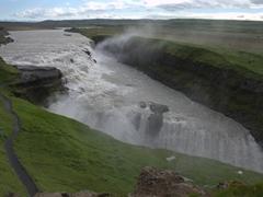 """View of Gulfoss (""""golden falls"""") as seen from the upper level"""