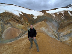 Robby strikes a pose next to the fabulous backdrop of Kerlingarfjöll