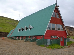 A brightly painted hut; Kerlingarfjöll Mountain Resort