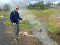 Robby boils an egg at Hveragerði Geothermal Park