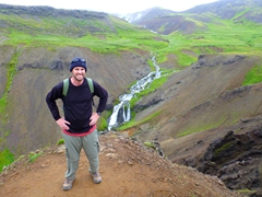 "Robby smiles at the midway point of our hike to Reykjadalur Valley (""smoke valley"")"