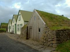 Turf roofed farm at the Árbæjarsafn Open Air Folk Museum