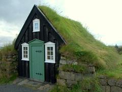 Turf roofed storage shack; Árbæjarsafn Museum