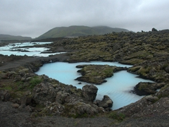 The surreal natural sight of blue overflow surrounded by Grindavík's lava field
