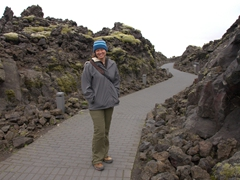Becky on the path leading to Iceland's most famous sight, the Blue Lagoon