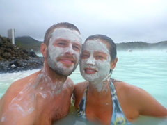 Waiting patiently for our silica mud masks to dry; Blue Lagoon